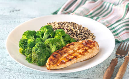 Grilled chicken with steamed broccoli and quinoa