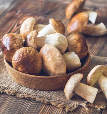 Bowl of porcini mushrooms close-up Banco de Imagens
