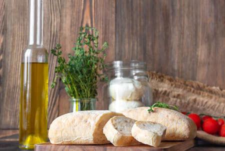Assortment of Italian food on wooden background