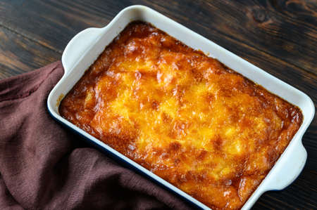 Portokalopita - Greek phyllo orange cake in a baking pan