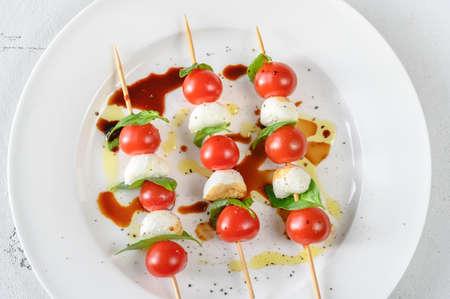 Caprese Salad skewers with balsamic sauce