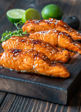 Grilled salmon fillet glazed in delicious teriyaki sauce