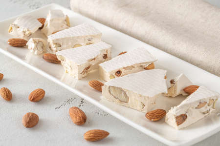 Pieces of turron -  European nougat confection