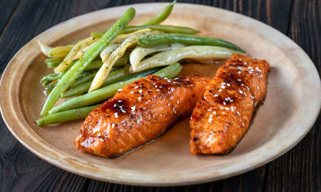 Teriyaki salmon with spicy green and yellow beans