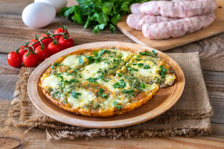 Frittata with ground meat and mozzarella on a plate