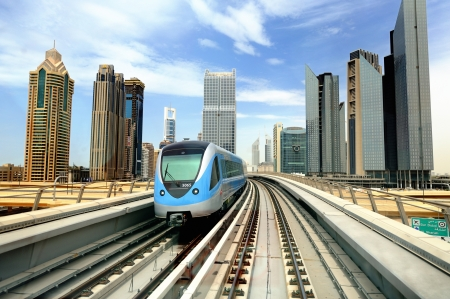 metro train: Dibai  Metro and skyscrapers Stock Photo