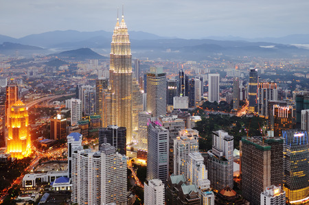 lumpur: Aerial view of Kuala Lumpur at nightfall