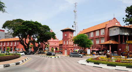 central square: Central square and Christ Church in Melaka. Malaysia Stock Photo