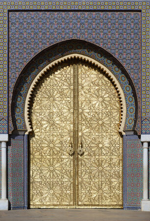 Morocco. Big golden doors of the royal palace of Fes Reklamní fotografie