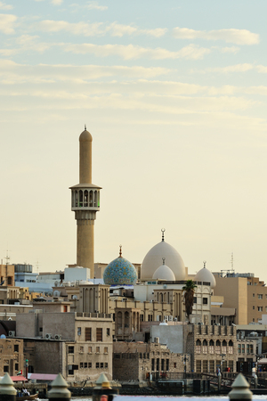 bur dubai: Bur Dubai and Al Juma Mosque at sunset.