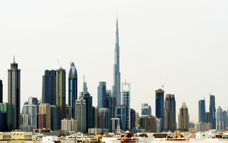Dubai World Trade center and Burj Khalifa. Reklamní fotografie