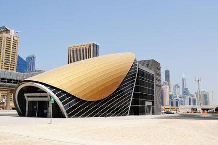 modern train: Metro station in Dubai.