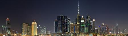 world trade center: Dubai World Trade center and Burj Khalifa at night.