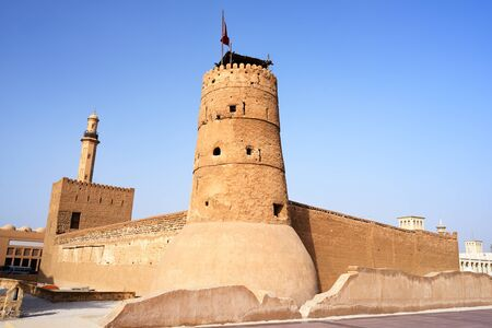 bur dubai: Dubai historical museum. Al Fahidi fort in past.