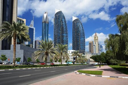 world trade center: Skyscrapers of the Dubai World Trade center. Stock Photo