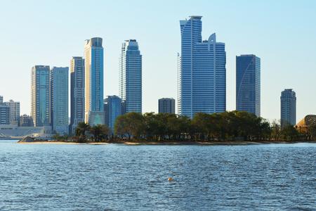 sharjah: Skyscrapers of Sharjah from Khalid lake side.