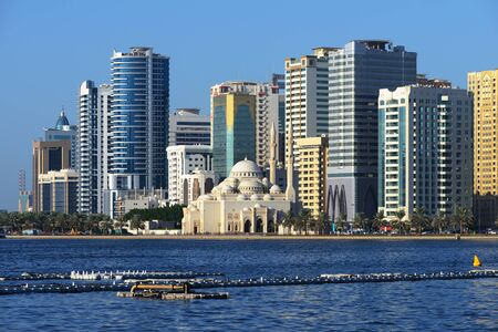 sharjah: Al Noor mosque, Al Buhaira corniche and skyscrspers in Sharjah from Khalid lake side. Editorial