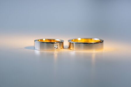 a pair: Pair of gold wedding rings.