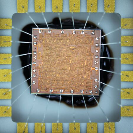 micro chip: Extreme close up of silicon micro chip. Stock Photo