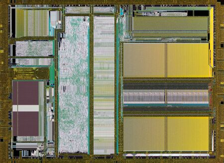 Extreme close up of silicon microprocessor chip.