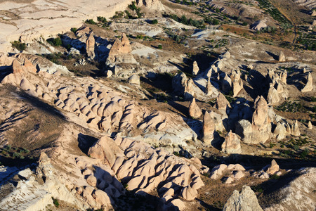 goreme: Bizarre forms of relief of Turkish Cappadocia. Goreme national park.