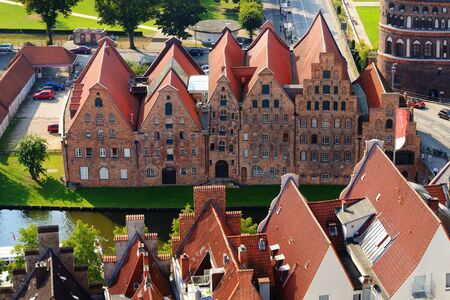 Aerial view of Salzspeicher, old salt storage warehouses in Lubeck, Germany. Banco de Imagens