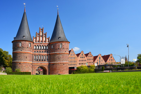 Holstentor Gate and Salzspeicher in Lubeck, Germany.