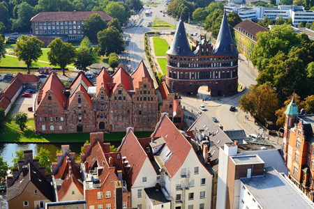 Aerial view of Salzspeicher and Holstentor Gate in Lubeck, Germany.