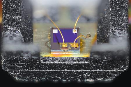 Laser diode, taken from optical storage drive. Archivio Fotografico - 96492583