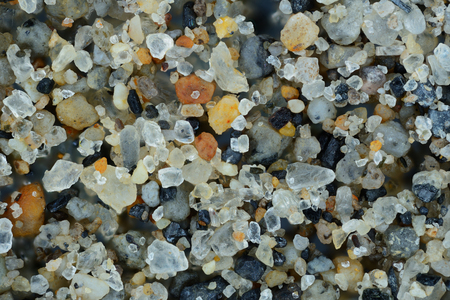 Extreme close-up of the sand grains. Galapagos islands. Stock Photo