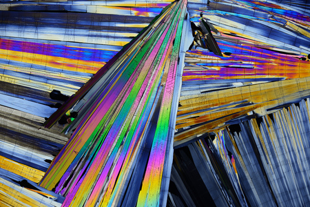 Colorful micro crystals in polarized light.