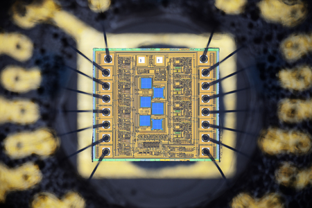 Extreme close up of silicon micro chip. Stock fotó