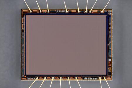 Primo piano del sensore della fotocamera digitale.
