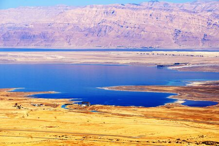 Judean Desert Landscape and Dead Sea, Israel.
