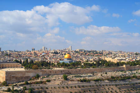 The old city of Jerusalem from the Mount of Olives. Israel Editorial