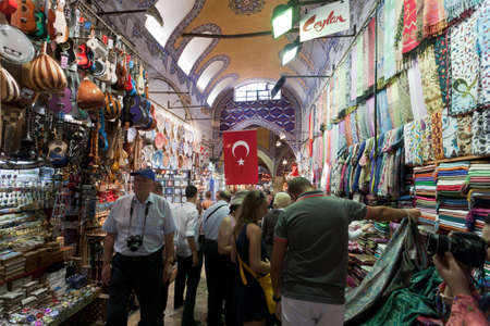 Turkey, Istanbul - September 5: Inside the Grand Bazaar in Istanbul. The grand bazaar is well known for its jewelry, pottery, spice, and carpet shops. September 5, 2011, Istanbul. Turkey.