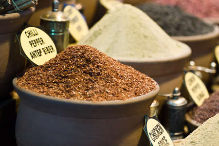 Lots of spices are sold at Spice Bazaar in Istanbul, Turkey. photo