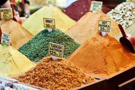 Lots of spices are sold at Spice Bazaar in Istanbul, Turkey.
