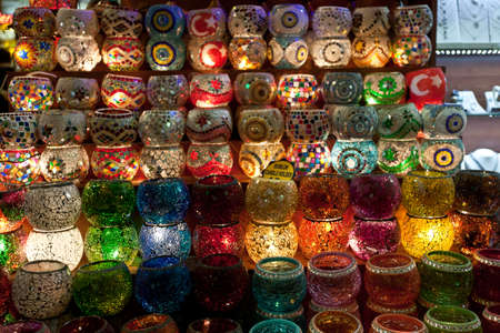 Many things are selling in Grand Bazaar (Grand Market) such as lamps or laterns, Istanbul, Turkey.