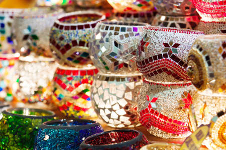 Many things are selling in Grand Bazaar (Grand Market) such as pottery, Istanbul, Turkey.