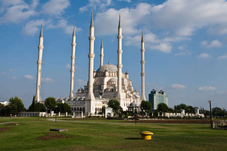 Exterior of Sabanci Central Mosque in Adana, Turkey.
