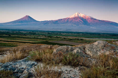 Big and little Ararat mountain during dramatic sunrise, symbol of Armenia. photo