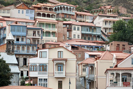 Traditional wooden carving balconies of Old Town of Tbilisi, Republic of Georgia