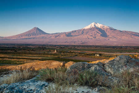 Big and little Ararat mountain during dramatic sunrise, symbol of Armenia. Stock Photo - 16459212