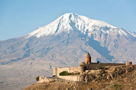 Ancient Armenian church Khor Virap with Ararat on the background.