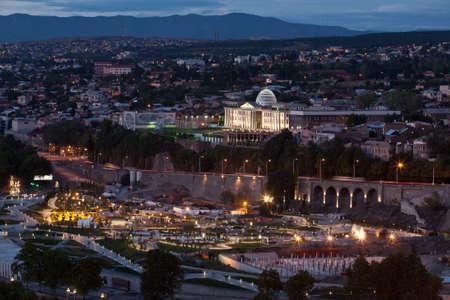 Panoramatický pohled z pevnosti Narikala. Tbilisi. Gruzie (země)