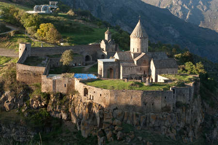 The Monastery of Tatev is a 9th century Armenian monastery located on a large basalt plateau near the Tatev village in Syunik Province