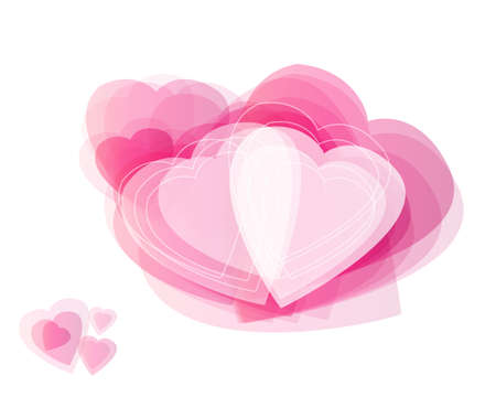 Different abstract hearts for valentines day on white background. photo