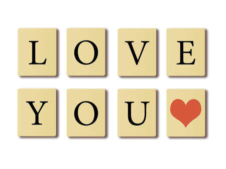 Simple text written on chip I love you, valentines concept. photo