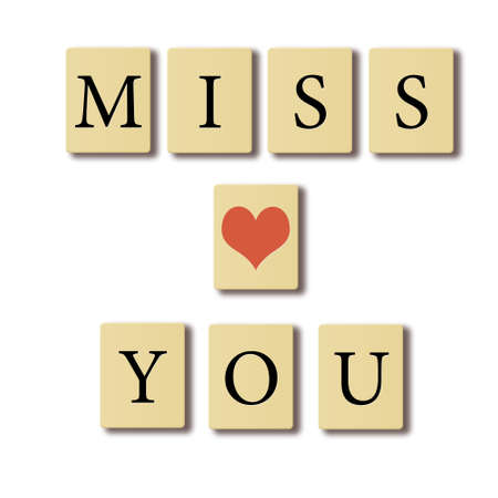 miss you: Simple text written on chip I miss you, valentines concept. Stock Photo